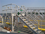 Accommodation Ladder - Access Platform, Truss Style, Curved Treads, Dock Roller